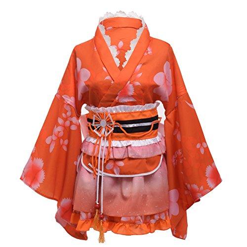 GRACEART Japanese Yukata Kimono Costume Anime Cosplay Robe (Orange)]()
