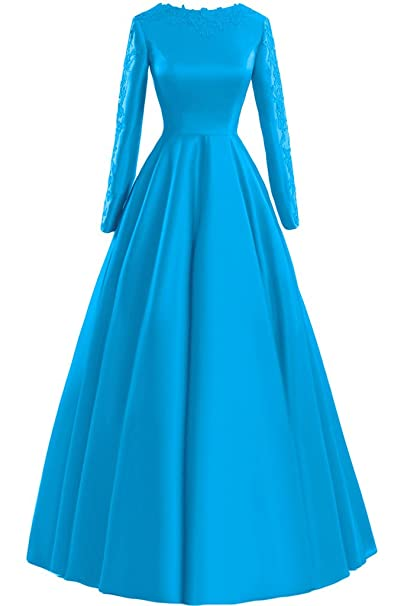 sunvary Encaje Manga Larga A-line para vestidos de fiesta Party Fiesta Azul azul 20