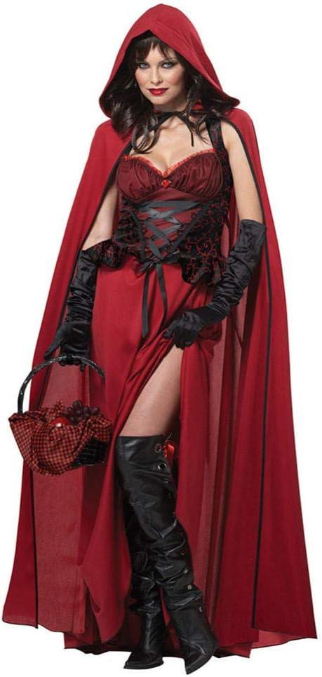 TIANFUSW Disfraz de Caperucita Gótica Roja Mujer, Disfraz de ...