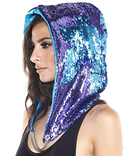 iHeartRaves Shimmering Tide Flip Sequin Reversible Festival Rave Hood