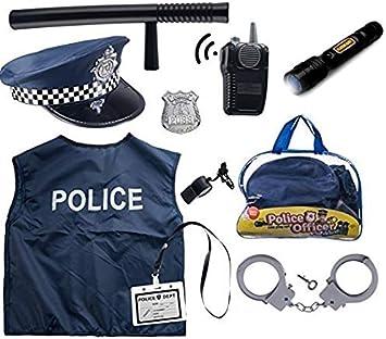 Born Toys Costume De Police De 11 Pièces Pour Enfants Avec Kit De Jeu De Rôle Pour Swat Détective Fbi Halloween Et Habillage Amazon Fr Jeux Et Jouets