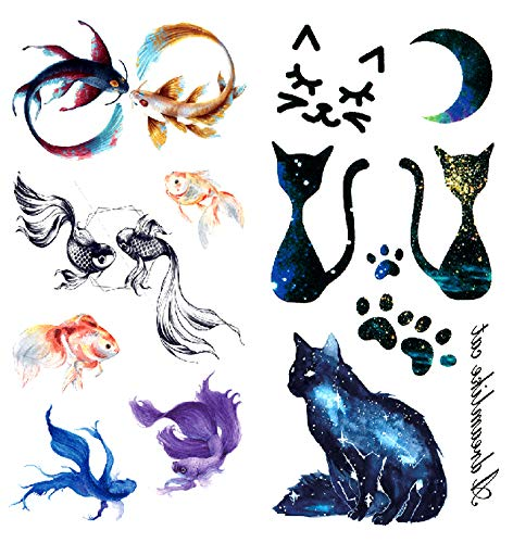 Oottati 2018 Temporary Tattoos 3D Stickers 2 Sheets Betta Fish Goldfish Cat Paw Print -
