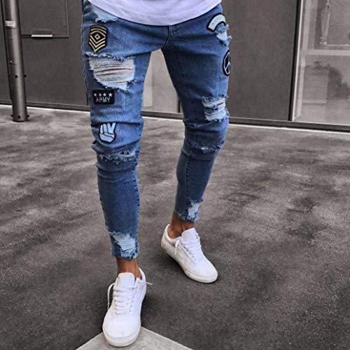 Hellblau Neri Estivi Fit Uomo Fori Slim Strappati Jeans Stretch Ragazzo Pantaloni Con xPq01Y