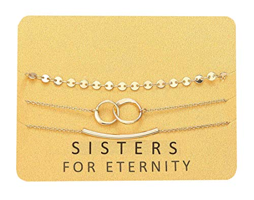 Zealmer Sisters for Eternity Coin Double Circles Link Curved Tube Bracelets Set Gift for Sisters -