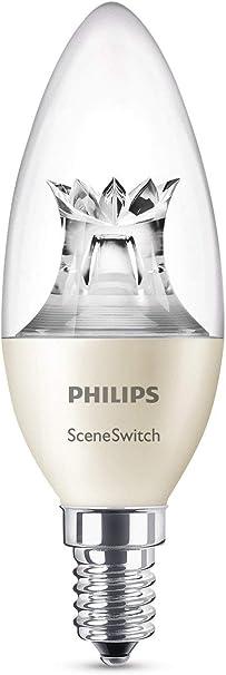 Image ofPhilips Lighting Philips Sceneswitch-Bombilla LED vela, casquillo E14, 40 W, no regulable, 8 W, Blanco, 5 W           [Clase de eficiencia energética A+]