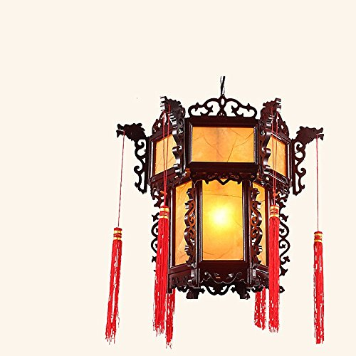 dant lamps The Southeast Asian Chinese Antique modern minimalist Chinese round solid wood vellum chandelier bedroom restaurant lighting ,3015- yellow 4555cm diameter ()