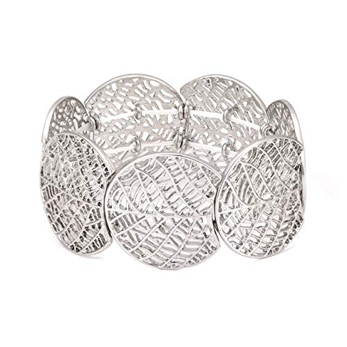 ZITULRY Wide Stretch Bracelets for Women Leaf Textured Width Bohemia Stretch Statement Filigree Bangle Bracelet (Silver)