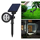 Solar Spotlights, Holan 4-LED Solar Landscape Lights 180 ° Adjustable Waterproof Outdoor Security Lighting 2-in-1 Wall Lights Auto On/Off for Driveway Patio Gardens Lawn Pool ( Pack of 1 )