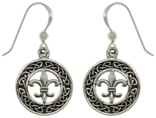 Jewelry Trends Sterling Silver Celtic Knot Fleur De Lis Dangle Earrings