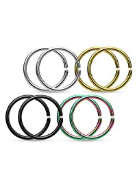 8 Piece Value Pack of Titanium Anodized Annealed Cartilage Tragus Septum Nose Hoop Ring