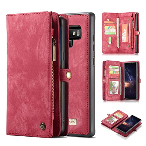 KONKY Caseme Samsung Galaxy Note 9 Wallet Case, Magnetic Detachable Removable Phone Cover Pouch Folio Durable Leather Purse Flip Card Pockets Holder Bag Smooth Zipper (Samsung Galaxy Note 9, Red)