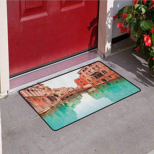 Gloria Johnson Venice Front Door mat Carpet Water Canal and Bridge Typical Venetian Architecture Buildings and a Boat Machine Washable Door mat W31.5 x L47.2 Inch Turquoise Cinnamon