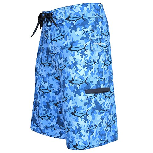 Tormenter Men's 4x4 Stretch Boardshorts (Marlin Camo Blue, 38) (Marlin Blue Fishing)