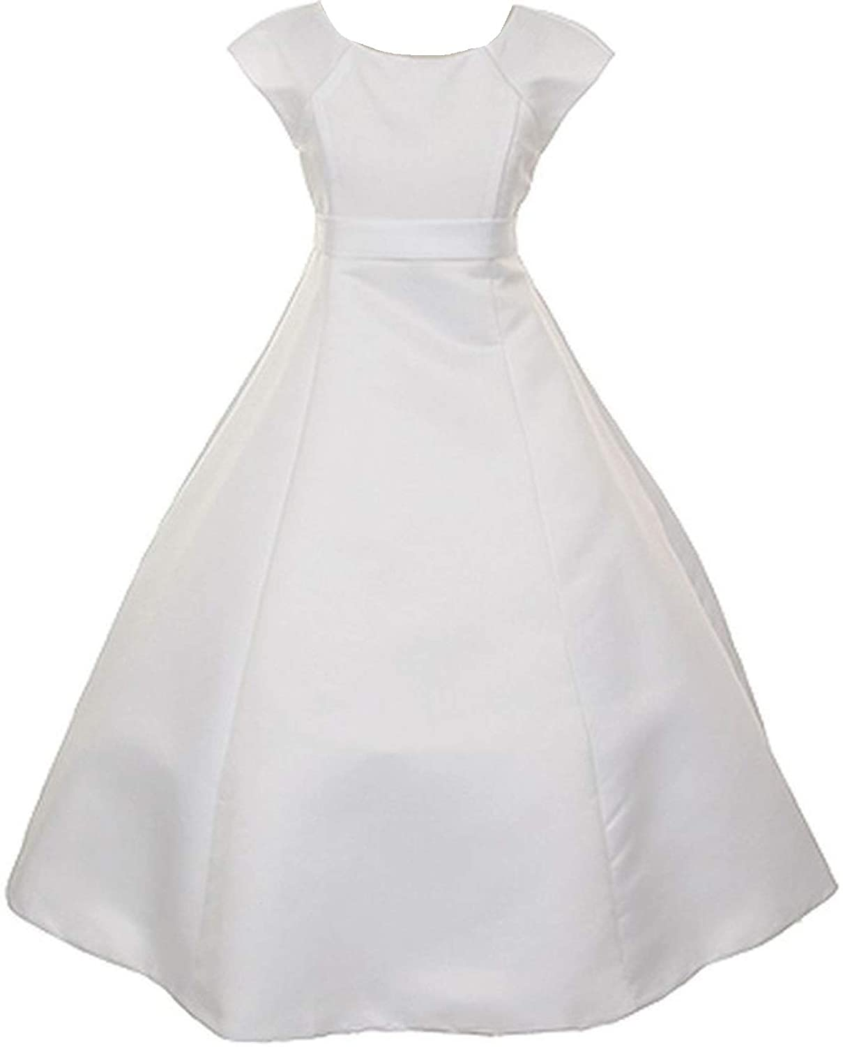 Amazon.com: Little Girls Cap Sleeve Bridal Satin Holy First ...