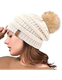 Womens Slouchy Winter Knit Beanie Hats Chunky Hat Bobble Hat Ski Cap