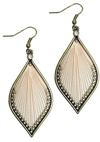 Woven Leaf Ring (Leaf shape antique Boho gypsy threaded woven earrings (PEACH))