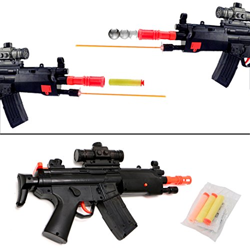 Amrka 2-in-1 Shooting Gun Toy Foam Dart and Soft Water Polymer Bullets Ball with Infrared Lighting function for Kids Gift (Vise Bullet)