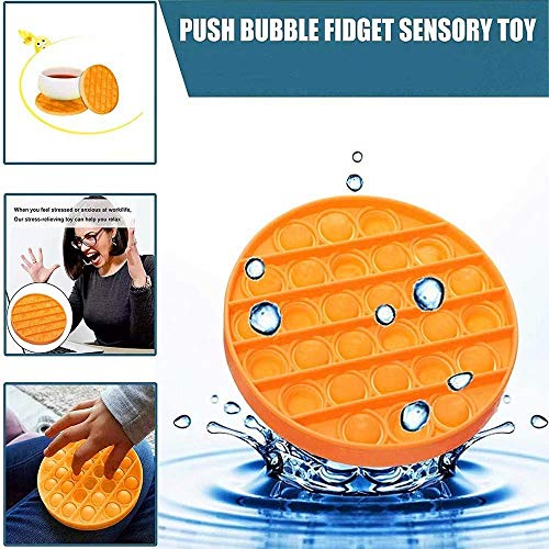 IOSUA Push Popping Bubble Sensory Fidget Toy, Squeeze Sensory Toy, Silicone Stress Reliever Toy for Kid, Autism Special Needs (Round Yellow)