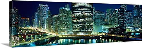 Gallery-Wrapped Canvas entitled Chicago skyline at night, Chicago, Cook County, Illinois by Panoramic Images - Chicago Place Water Tower