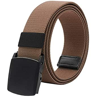"""Elastic Belt for Men, Stretch Canvas Belt with YKK Plastic Buckle, Breathable Waist Belt for Work Outdoor Cycling Hiking, Adjustable for Pants Size Below 46inches[53""""Long1.5""""Wide] (Brown)"""