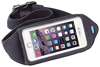 Running Belt for iPhone 8 7 6s 6 Plus, Note 8, Galaxy S8 Plus and more - Fits with OtterBox Defender, Commuter & LifeProof Case - for Running & Exercise - Water Resistant [Black]