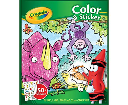 Crayola Animal Coloring Pages and Stickers, 96 Pages, Gift for Kids, Ages 3, 4, 5, 6