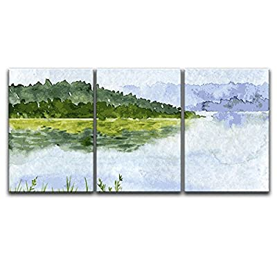 Dazzling Print, Classic Design, 3 Panel Watercolor Style Mountain Trees Calm Lake x 3 Panels