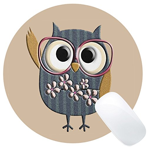 Wknoon Cute Owl Design Art Round Mouse Pad (And Owl Mouse)