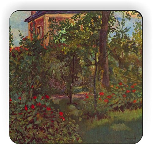 Rikki Knight Edouard Manet Art a Corner in The Garden of Bellevue Design Square Fridge - Bellevue Square