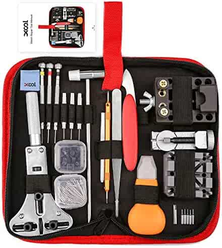XOOL 151 PCS Watch Repair Kit Professional Spring Bar Tool Set,Watch Battery Replacement Tool Kit,Watch Band Link Pin Tool Set with Carrying Case and Instruction Manual