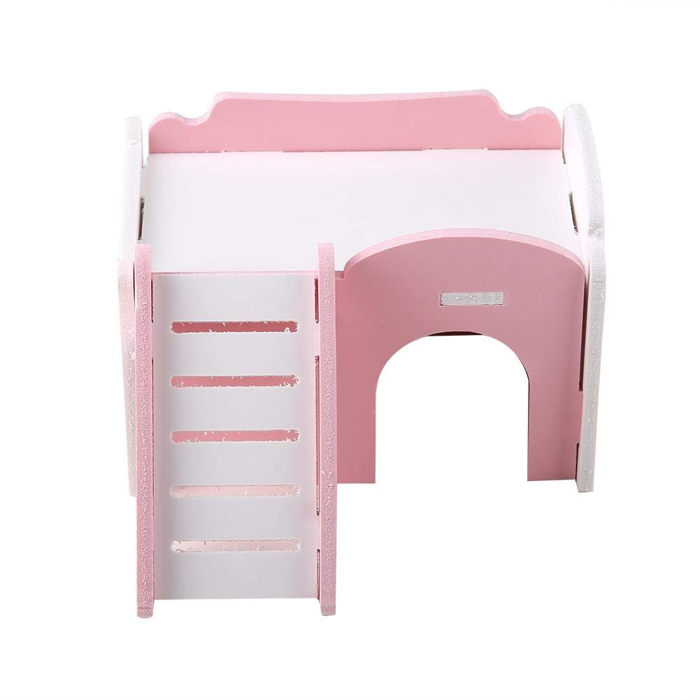 Double Layer Hamster House Cute Wooden Sleeping House Hamster Houses And Hideouts with Stairs for Hamster Jimfoty Hamster House Pink