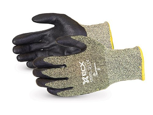 Superior S13CXFNT Emerald CX Kevlar/Stainless Steel String Knit Glove with Black Foamed Nitrile Coated Palm, Work, Cut Resistant, 13 Gauge Thickness, Size 9 (Pack of 1 Pair) - Kevlar String Knit Glove