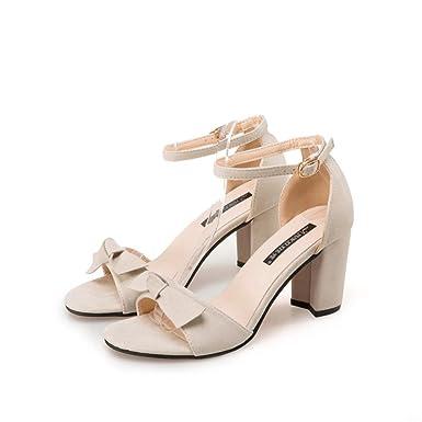 ddba5a310807 Women s Mid Heeled Block Sandal OverDose Open Toe Ankle Strap Shoes Sandals(EU  37