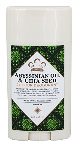 Price comparison product image Nubian Heritage Abyssinian Oil & Chia Seed 24 Hour Deodorant Stick,  2.25 Ounce