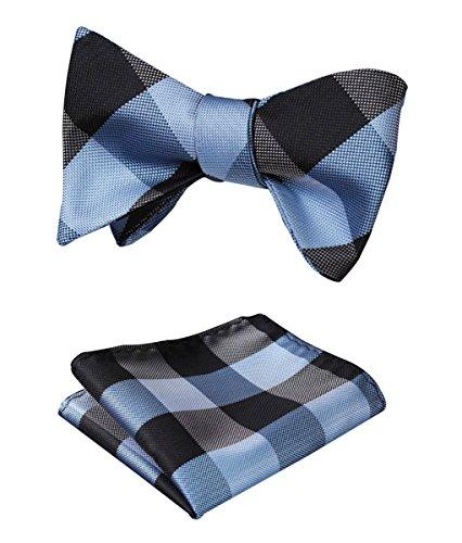 Blue Self Tie - HISDERN SetSense Men's Plaid Jacquard Woven Self Bow Tie Set One Size Gray / Blue
