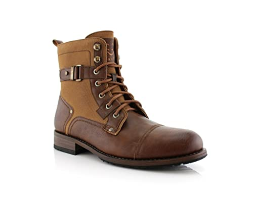 Jaime Aldo Mens 919686 Tall Lace Up Denim Military Style Army Dress Boots,