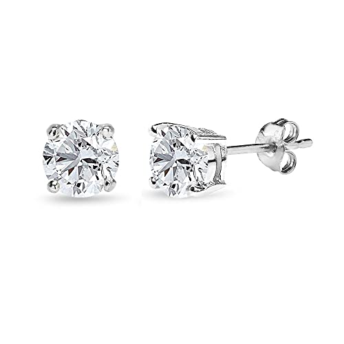 5MM CZ Round Cut Birthstone Stud Earrings - Choose From 12 Colours - 925 Sterling Silver - Gift Boxed IKNem