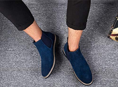 Liangxie Trend Chelsea Hommes Pour En Cuir Plates Bottines Bleu Martin Daim rqnTrSwHxW
