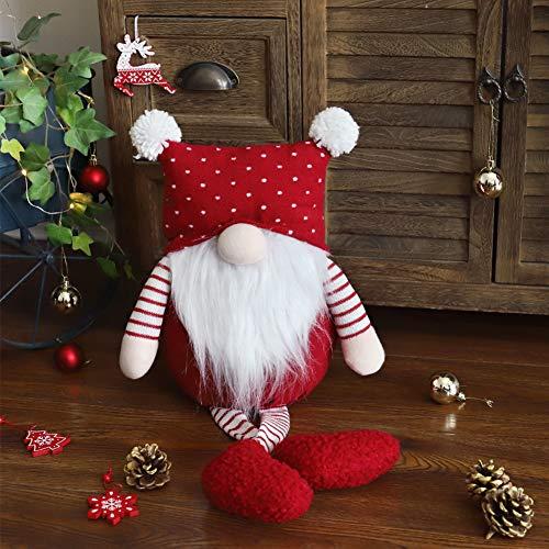 WORLDECO Christmas Gnome Decor Handmade Doll, Collectible Figurine Fat Swedish Tomte Red Hat Plush Beard Yule…