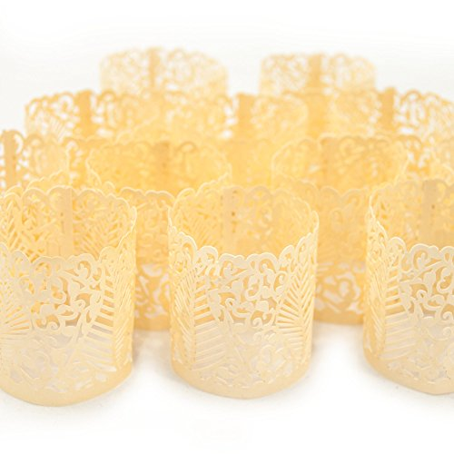 Frux Home and Yard Votive Candle Holders - Flameless Tea Light Votive Wraps- 48 Ivory Colored Laser Cut Decorative Wraps Flickering LED Battery Tealight Candles (not Included)]()