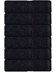 Hand Towels Black Six Pack - Combed Cotton Salon Towels for Bath and Home, Nail Towels by Manroosh (6, Black)