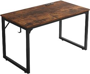 "Home Office Desk, Modern Industrial Simple Style Computer Desk, Workstation, Sturdy Writing Desk, Flrrtenv(47"", Rustic Brown)"