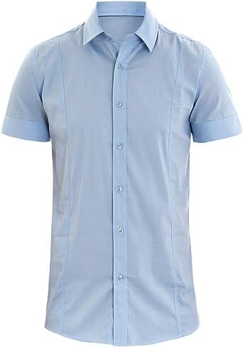 Giosal - Camisa para Hombre, Cuello de Manga Corta, Slim Fit ...