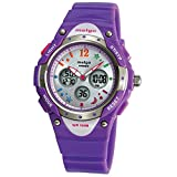 Kids Girls Watches Dual Time Waterproof Sports Casual Wrist Watches with star bling 2001ad