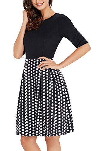 CoolEnding Black Dresses For Women Work Party Cocktail Evening 50s Dress With Pockets Black XL