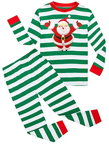 Dutebare Toddler Christmas Long Sleeve Pajamas Kid Boys Xmas Santa Pjs Children Sleepwear Santa Geen 4T -