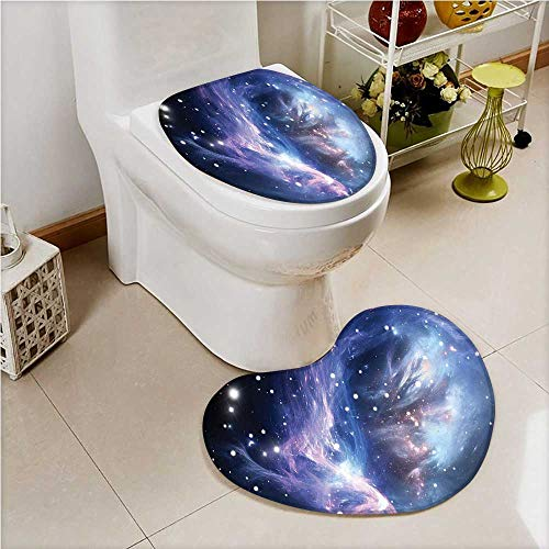aolankaili 2 Piece Toilet Cover Set Mysterious Nebula Gas Cloud in Deep Ouuter with Star Cluster Universe Solar in Bathroom Accessories by aolankaili