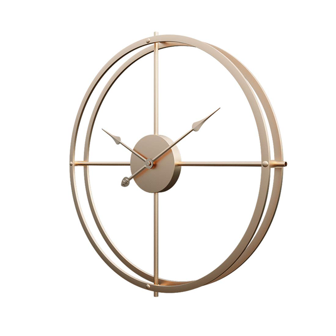 RuiyiF 24 Inch Silent Wall Clock Non Ticking Battery Operated, Oversize Farmhouse Rustic Metal Vintag Large Decorative Living Room Bedroom Office Kitchen Gold