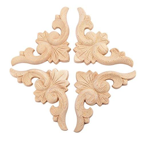 4pcs 8*8cm Apliques flor de madera de los muebles del estilo europeo para la decoración del hogar: Amazon.es: Hogar