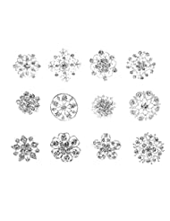 12PCS Women's Romantic Fashion Flower Rhinestone Silver Plated Brooches Wedding Party Jewelry